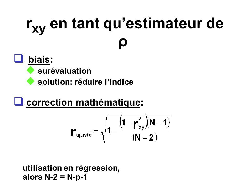 r xy en tant questimateur de ρ biais: surévaluation solution: réduire lindice correction mathématique: utilisation en régression, alors N-2 = N-p-1