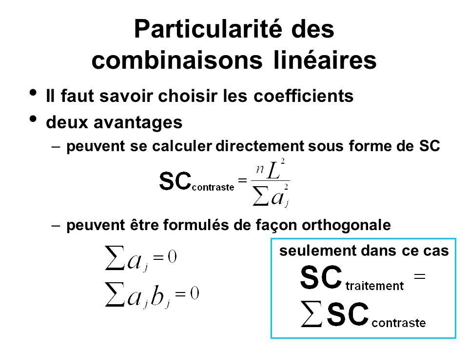 Particularité des combinaisons linéaires Il faut savoir choisir les coefficients deux avantages –peuvent se calculer directement sous forme de SC –peu
