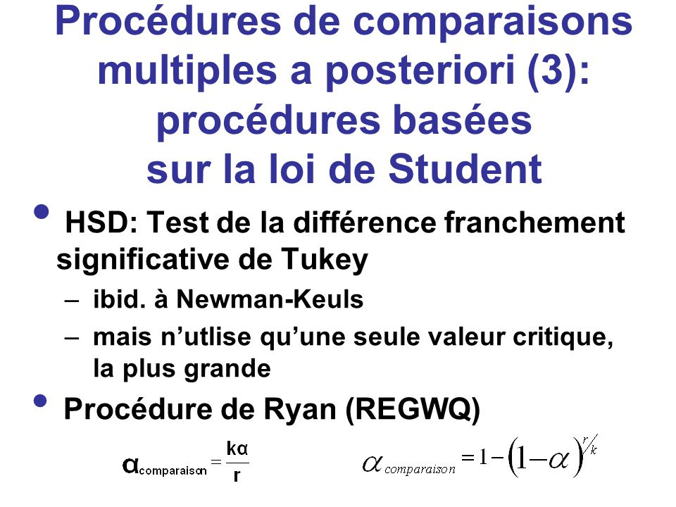 Procédures de comparaisons multiples a posteriori (3): procédures basées sur la loi de Student HSD: Test de la différence franchement significative de