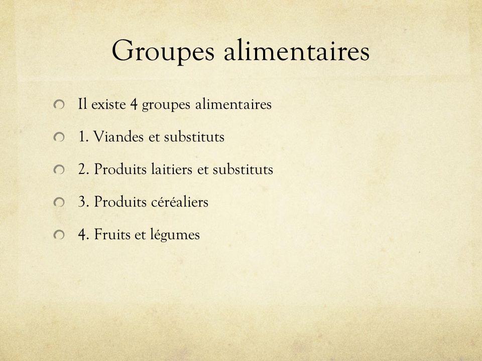 Groupes alimentaires Il existe 4 groupes alimentaires 1. Viandes et substituts 2. Produits laitiers et substituts 3. Produits céréaliers 4. Fruits et