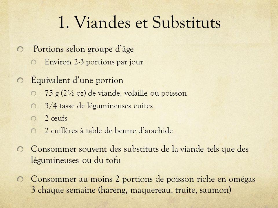 1. Viandes et Substituts Portions selon groupe dâge Environ 2-3 portions par jour Équivalent dune portion 75 g (2½ oz) de viande, volaille ou poisson