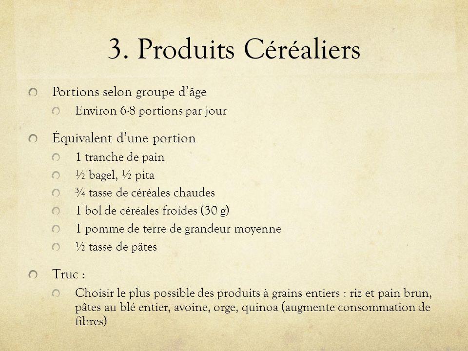 3. Produits Céréaliers Portions selon groupe dâge Environ 6-8 portions par jour Équivalent dune portion 1 tranche de pain ½ bagel, ½ pita ¾ tasse de c