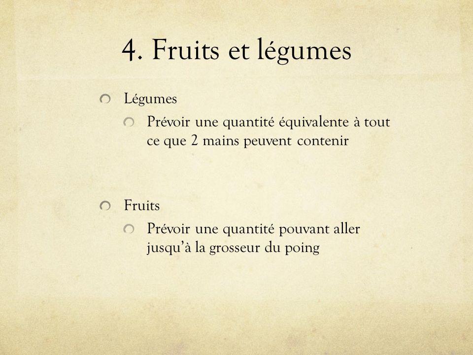 4. Fruits et légumes Fruits Prévoir une quantité pouvant aller jusquà la grosseur du poing Légumes Prévoir une quantité équivalente à tout ce que 2 ma