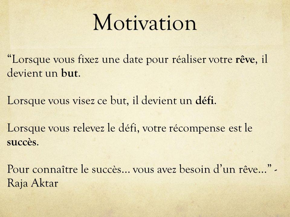 Motivation Lorsque vous fixez une date pour réaliser votre rêve, il devient un but.