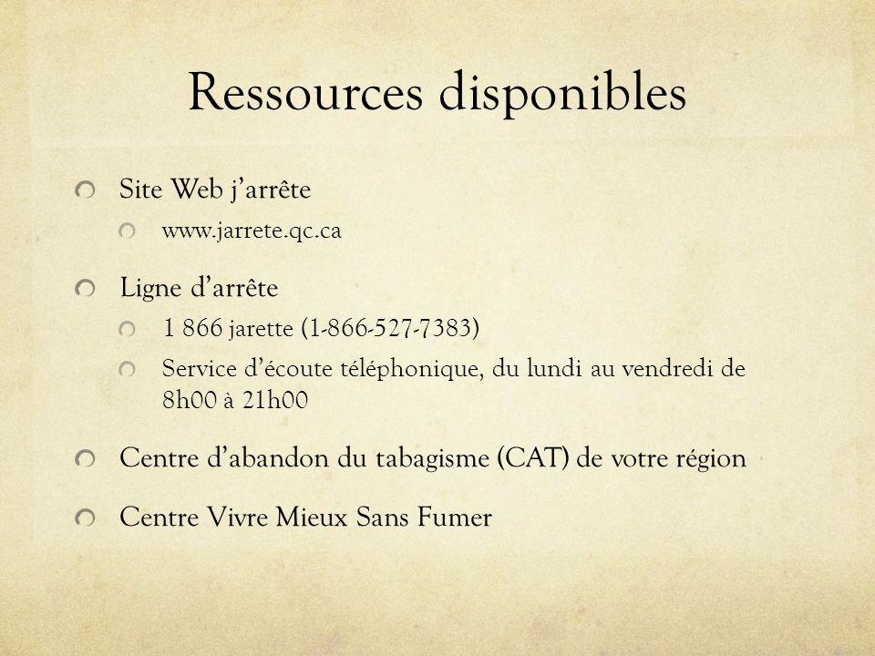 Ressources disponibles Site Web jarrête www.jarrete.qc.ca Ligne darrête 1 866 jarette (1-866-527-7383) Service découte téléphonique, du lundi au vendredi de 8h00 à 21h00 Centre dabandon du tabagisme (CAT) de votre région Centre Vivre Mieux Sans Fumer