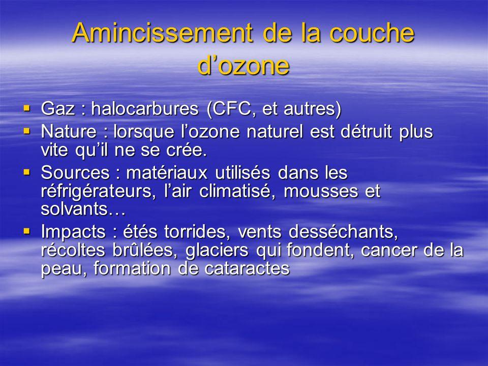 Amincissement de la couche dozone Gaz : halocarbures (CFC, et autres) Gaz : halocarbures (CFC, et autres) Nature : lorsque lozone naturel est détruit plus vite quil ne se crée.