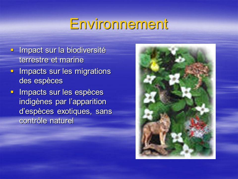 Environnement Impact sur la biodiversité terrestre et marine Impact sur la biodiversité terrestre et marine Impacts sur les migrations des espèces Impacts sur les migrations des espèces Impacts sur les espèces indigènes par lapparition despèces exotiques, sans contrôle naturel Impacts sur les espèces indigènes par lapparition despèces exotiques, sans contrôle naturel