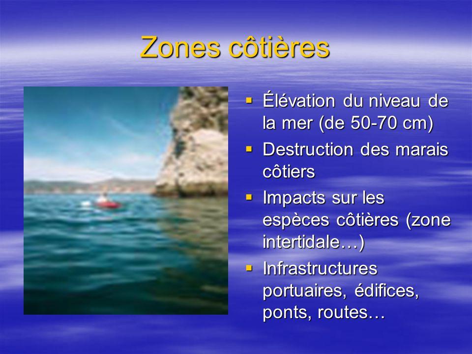 Zones côtières Élévation du niveau de la mer (de 50-70 cm) Élévation du niveau de la mer (de 50-70 cm) Destruction des marais côtiers Destruction des marais côtiers Impacts sur les espèces côtières (zone intertidale…) Impacts sur les espèces côtières (zone intertidale…) Infrastructures portuaires, édifices, ponts, routes… Infrastructures portuaires, édifices, ponts, routes…