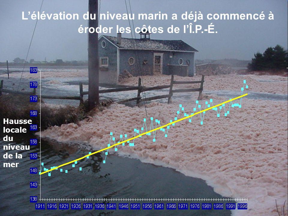 Lélévation du niveau marin a déjà commencé à éroder les côtes de lÎ.P.-É.