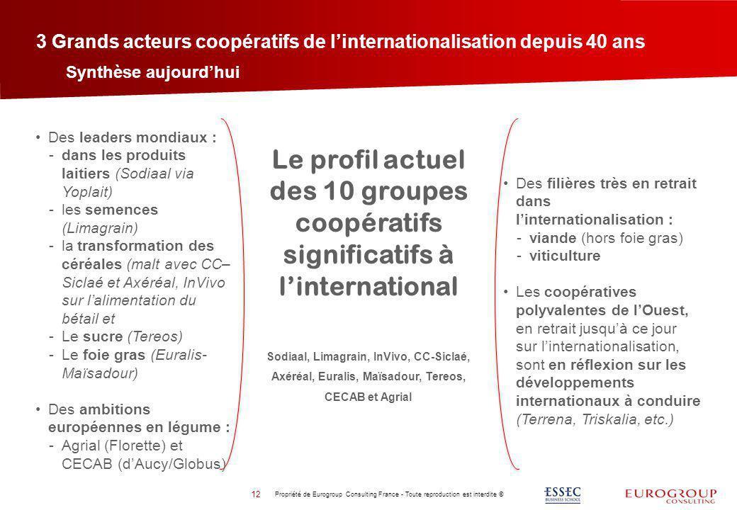 3 Grands acteurs coopératifs de linternationalisation depuis 40 ans Propriété de Eurogroup Consulting France - Toute reproduction est interdite © 12 S