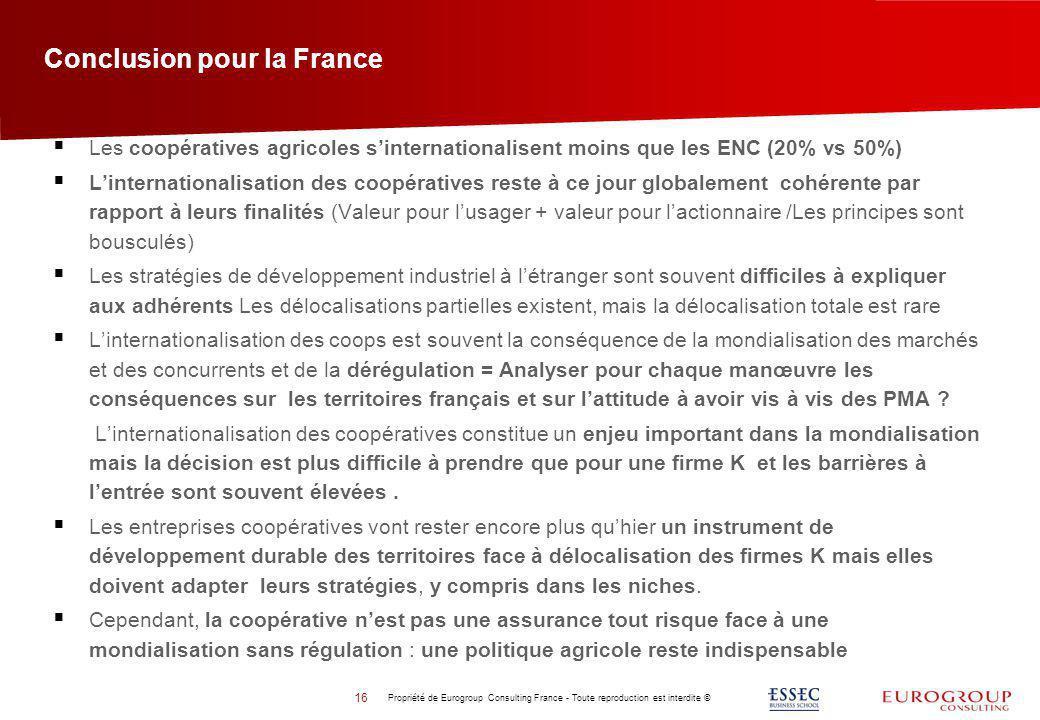 Conclusion pour la France 16 Propriété de Eurogroup Consulting France - Toute reproduction est interdite © Les coopératives agricoles sinternationalis