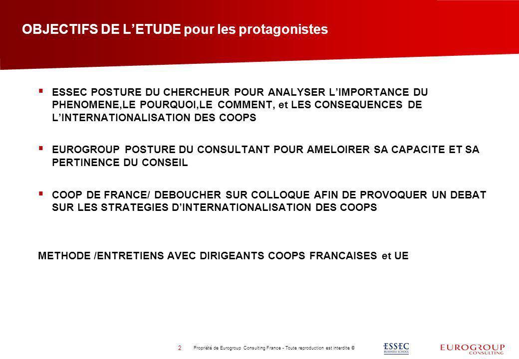 OBJECTIFS DE LETUDE pour les protagonistes Propriété de Eurogroup Consulting France - Toute reproduction est interdite © 2 ESSEC POSTURE DU CHERCHEUR
