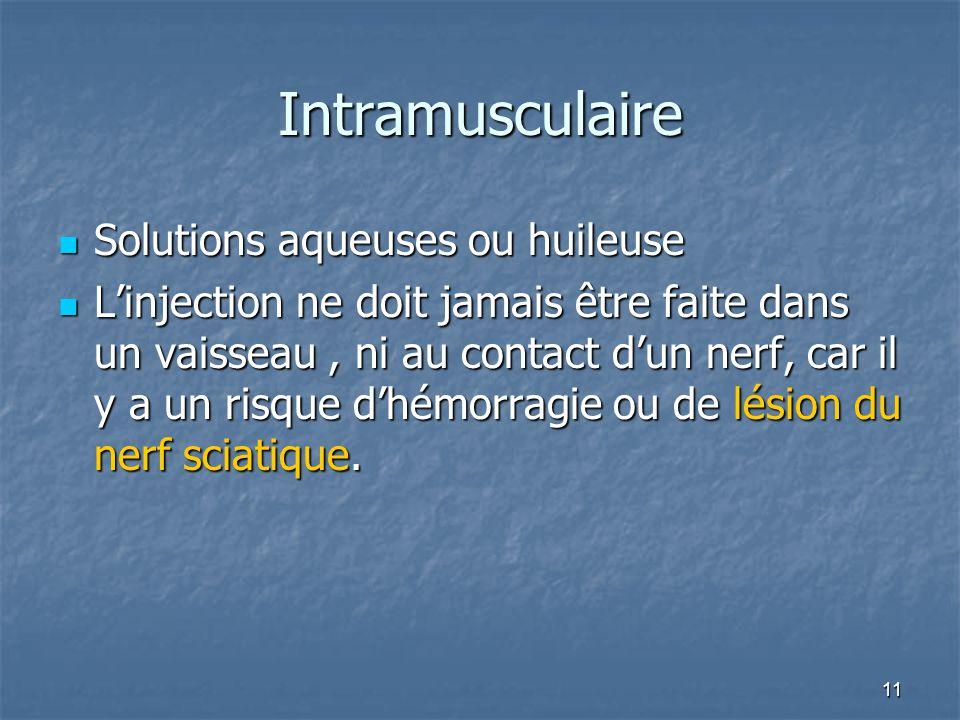 11 Intramusculaire Solutions aqueuses ou huileuse Solutions aqueuses ou huileuse Linjection ne doit jamais être faite dans un vaisseau, ni au contact dun nerf, car il y a un risque dhémorragie ou de lésion du nerf sciatique.