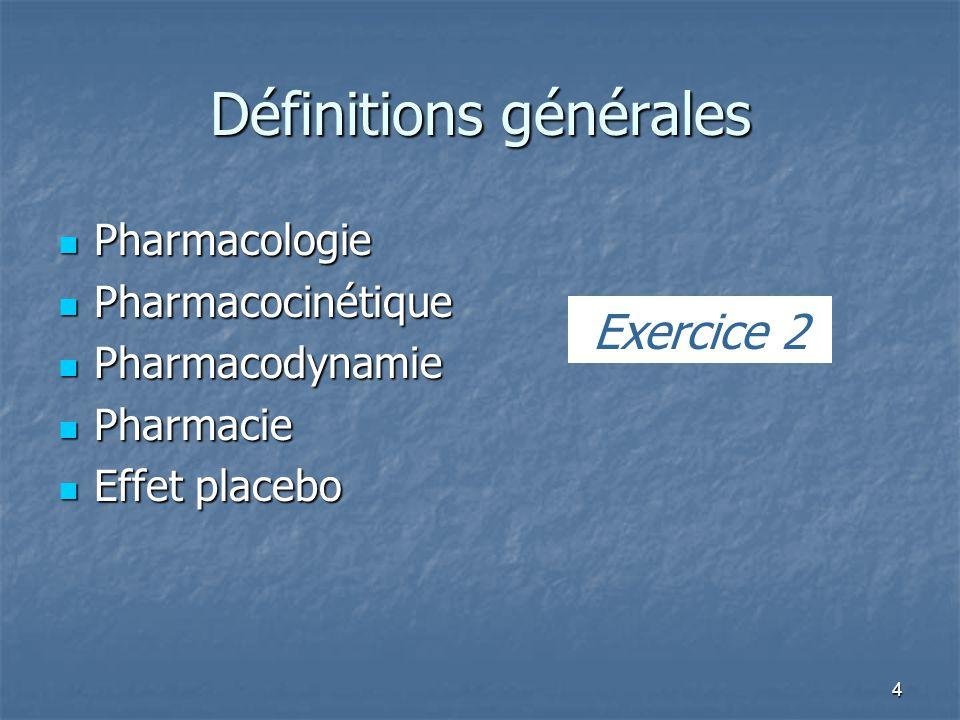 4 Définitions générales Pharmacologie Pharmacologie Pharmacocinétique Pharmacocinétique Pharmacodynamie Pharmacodynamie Pharmacie Pharmacie Effet placebo Effet placebo Exercice 2