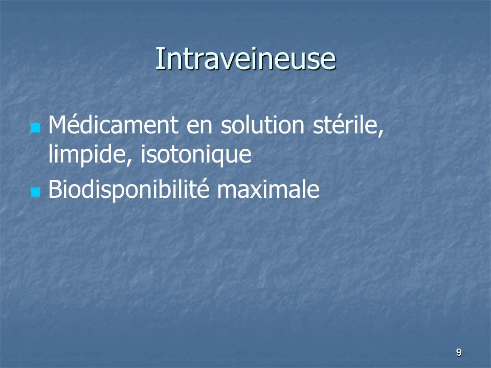 9 Intraveineuse Médicament en solution stérile, limpide, isotonique Biodisponibilité maximale