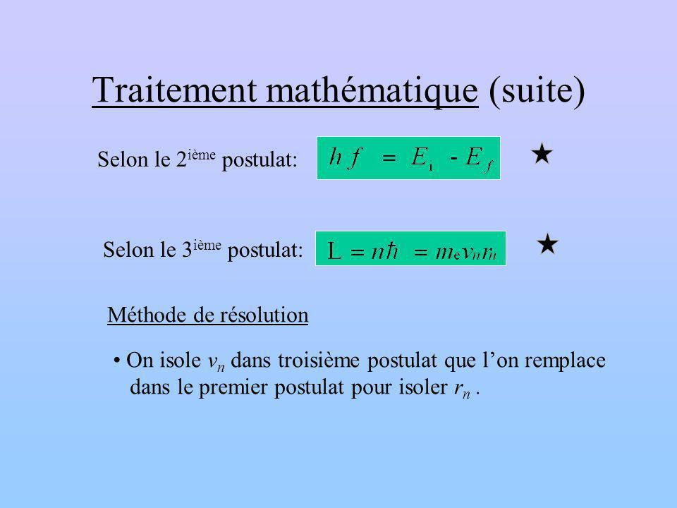 Traitement mathématique (suite) Selon le 2 ième postulat: Selon le 3 ième postulat: Méthode de résolution On isole v n dans troisième postulat que lon remplace dans le premier postulat pour isoler r n.