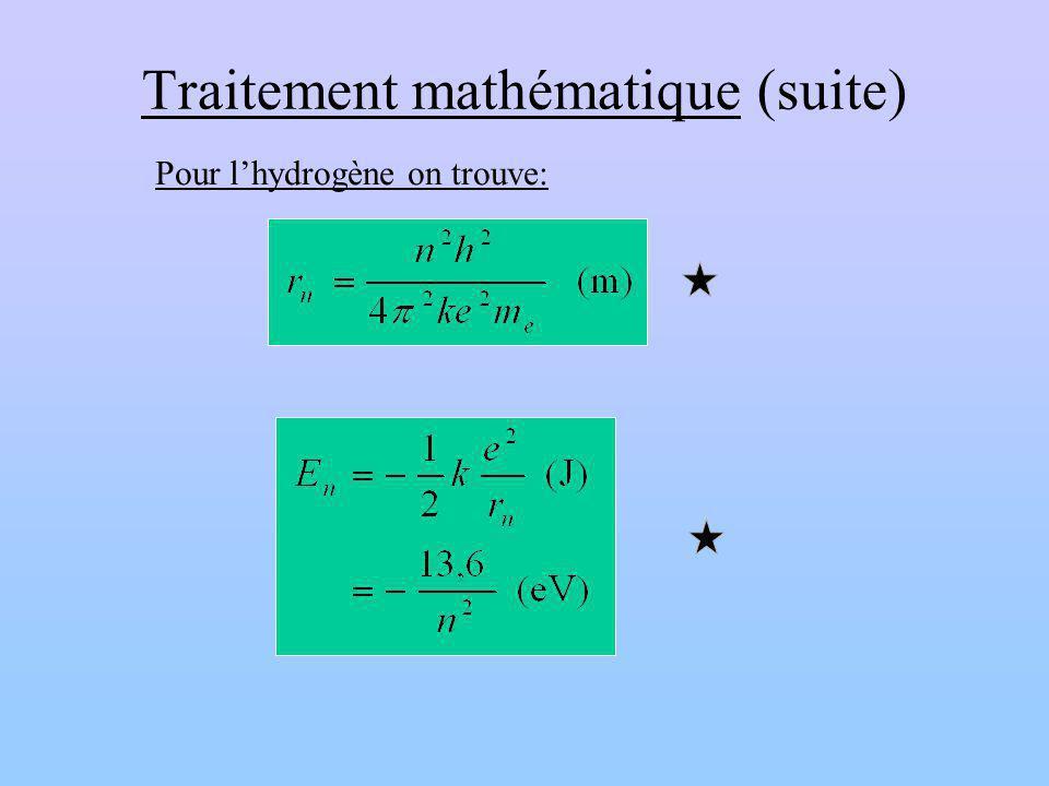 Traitement mathématique (suite) Pour lhydrogène on trouve: