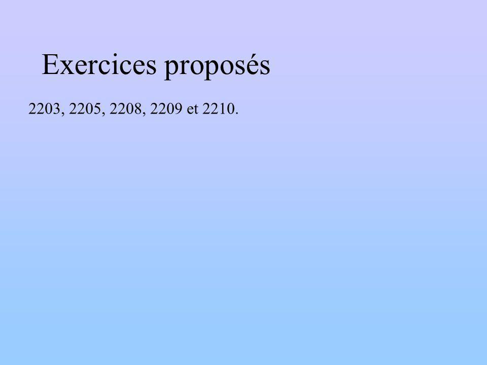 Exercices proposés 2203, 2205, 2208, 2209 et 2210.