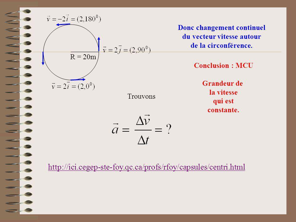 R = 20m Donc changement continuel du vecteur vitesse autour de la circonférence. Conclusion : MCU Grandeur de la vitesse qui est constante. Trouvons h