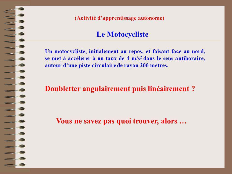 (Activité dapprentissage autonome) Le Motocycliste Un motocycliste, initialement au repos, et faisant face au nord, se met à accélérer à un taux de 4