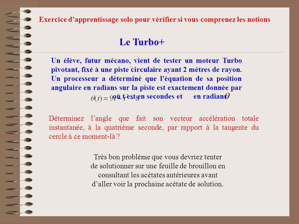 Le Turbo+ Un élève, futur mécano, vient de tester un moteur Turbo pivotant, fixé à une piste circulaire ayant 2 mètres de rayon. Un processeur a déter