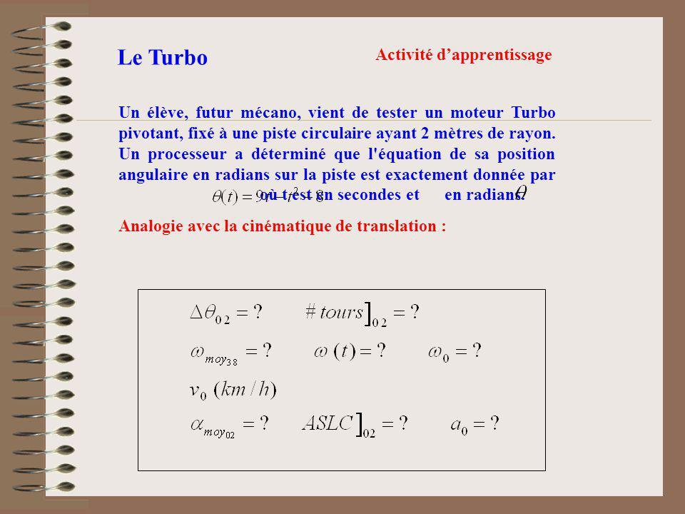Le Turbo 1.Déplacement angulaire entre 0 et 2 secondes (14 radians) 2.Nombre de tours dans les 2 premières secondes (2,23 tour) 3.La grandeur de sa vitesse angulaire initiale (9 rad/s) 4.Sa vitesse instantanée initiale en km/h (18 m/s soit 64,8 km/h) 5.La grandeur de son accélération angulaire initiale (-2 rad/s/s) 6.Aire de la surface sous la courbe = déplacement angulaire Les réponses