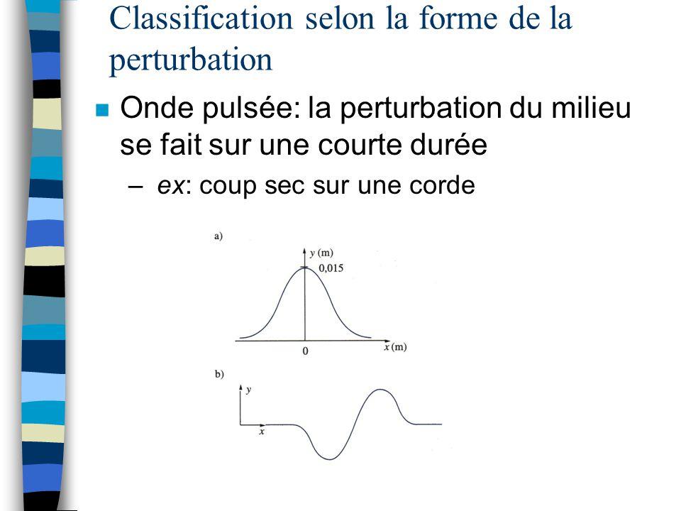 Classification selon la forme de la perturbation n Onde pulsée: la perturbation du milieu se fait sur une courte durée – ex: coup sec sur une corde