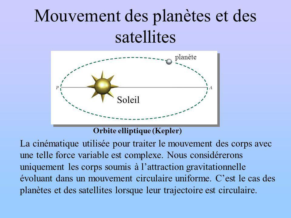 Mouvement des planètes et des satellites La cinématique utilisée pour traiter le mouvement des corps avec une telle force variable est complexe.