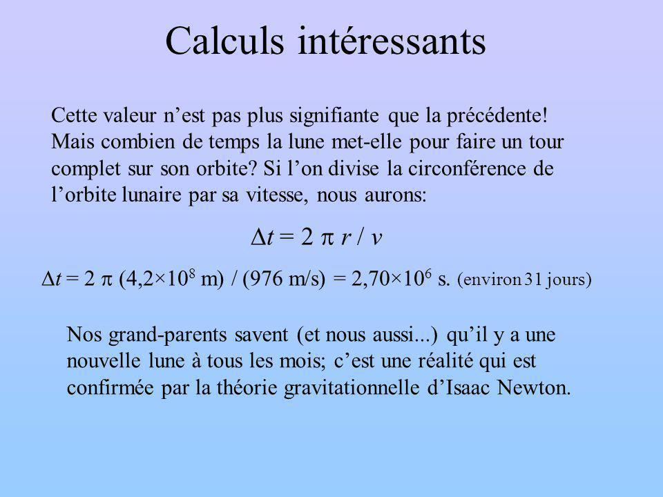Calculs intéressants Cette valeur nest pas plus signifiante que la précédente.