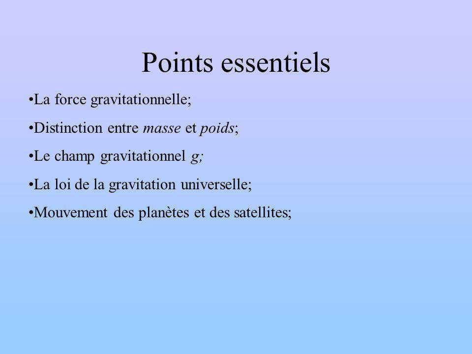 Points essentiels La force gravitationnelle; Distinction entre masse et poids; Le champ gravitationnel g; La loi de la gravitation universelle; Mouvement des planètes et des satellites;