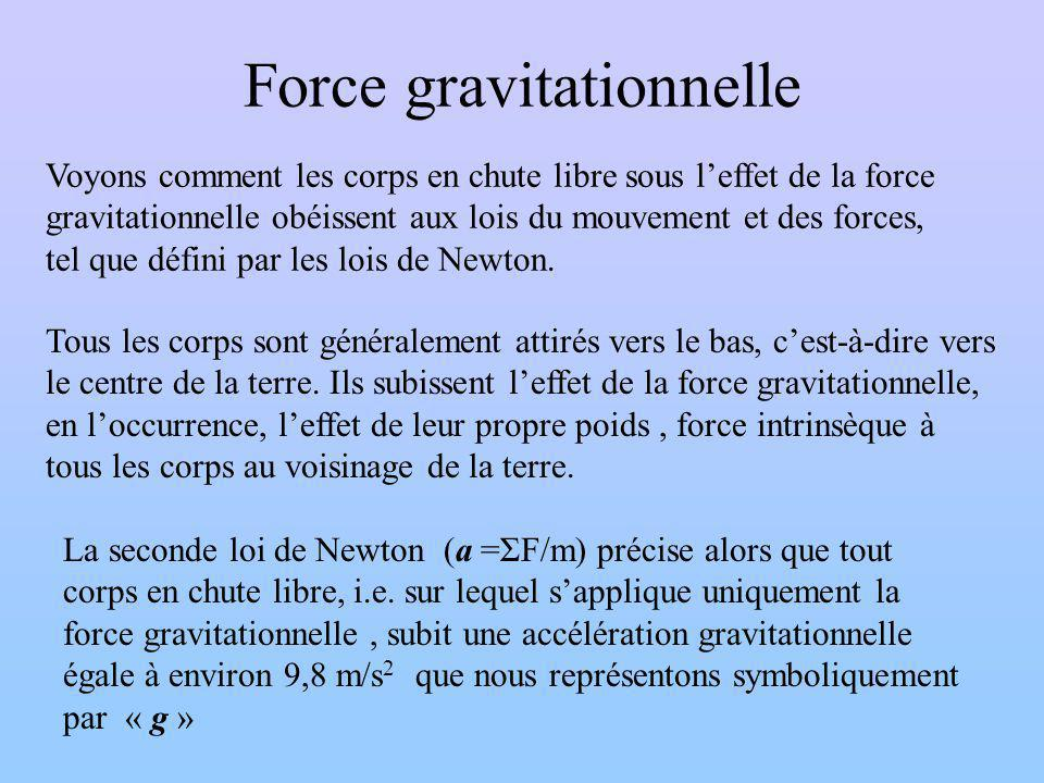 Force gravitationnelle Voyons comment les corps en chute libre sous leffet de la force gravitationnelle obéissent aux lois du mouvement et des forces, tel que défini par les lois de Newton.