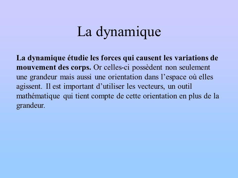 La dynamique La dynamique étudie les forces qui causent les variations de mouvement des corps. Or celles-ci possèdent non seulement une grandeur mais