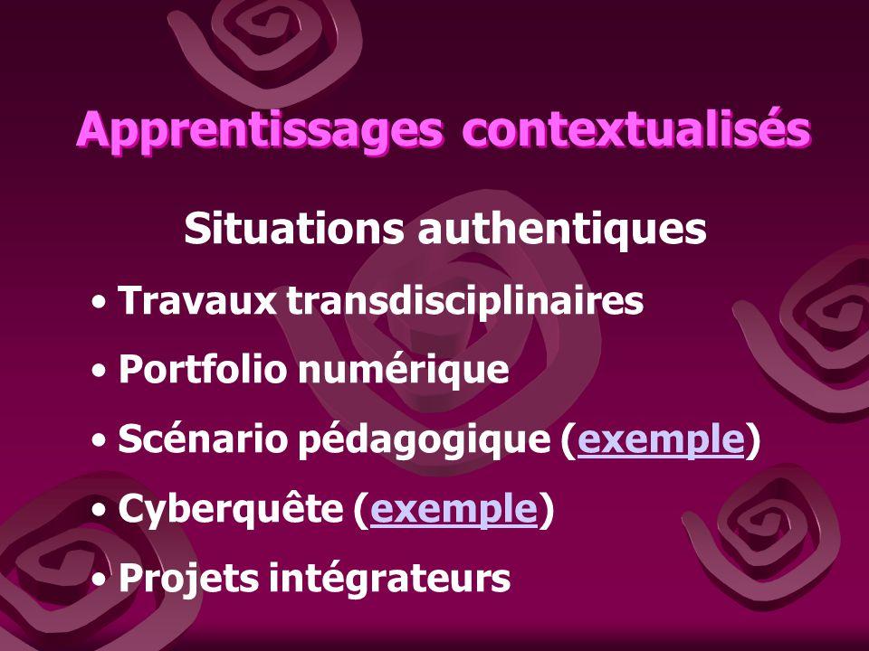 Apprentissages contextualisés Situations authentiques Travaux transdisciplinaires Portfolio numérique Scénario pédagogique (exemple)exemple Cyberquête (exemple)exemple Projets intégrateurs