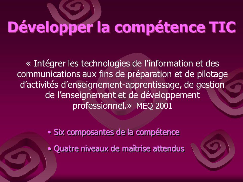 Développer la compétence TIC « Intégrer les technologies de linformation et des communications aux fins de préparation et de pilotage dactivités dense