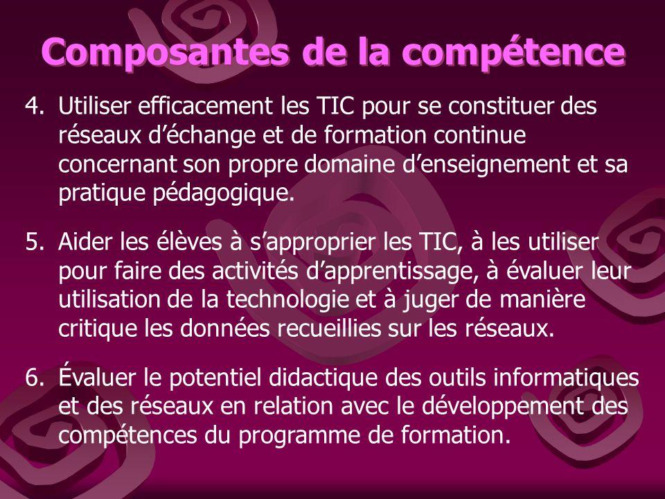 Composantes de la compétence 4.Utiliser efficacement les TIC pour se constituer des réseaux déchange et de formation continue concernant son propre domaine denseignement et sa pratique pédagogique.