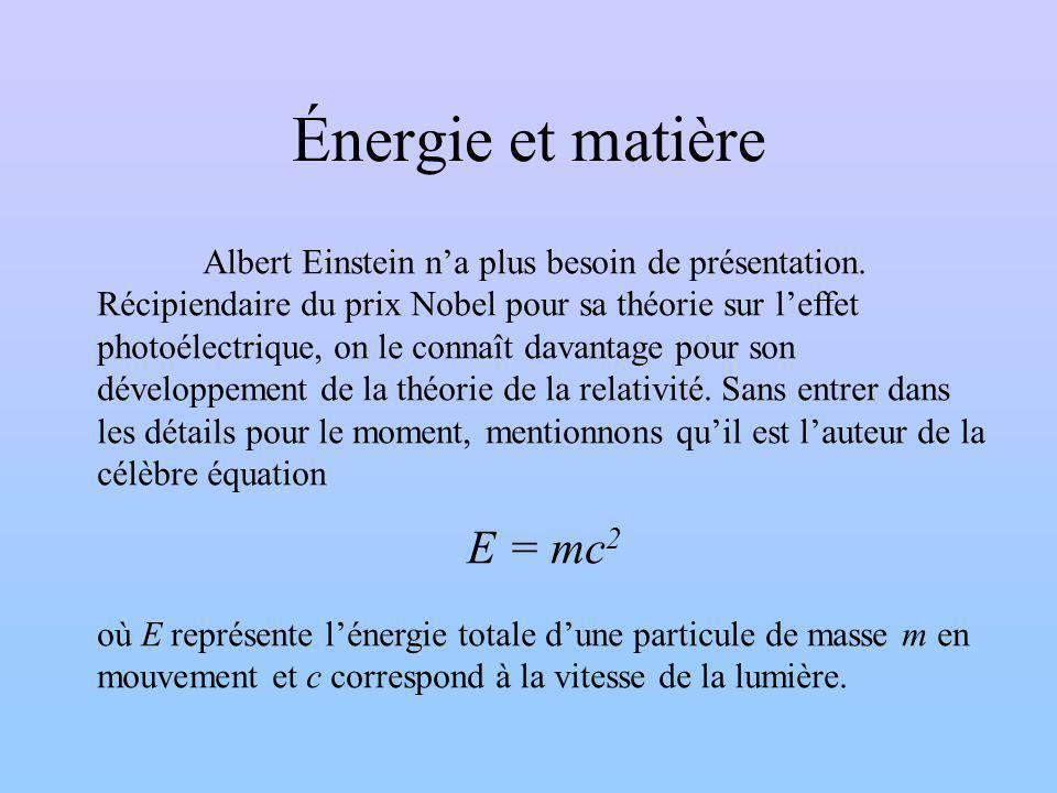 Énergie et matière Albert Einstein na plus besoin de présentation.