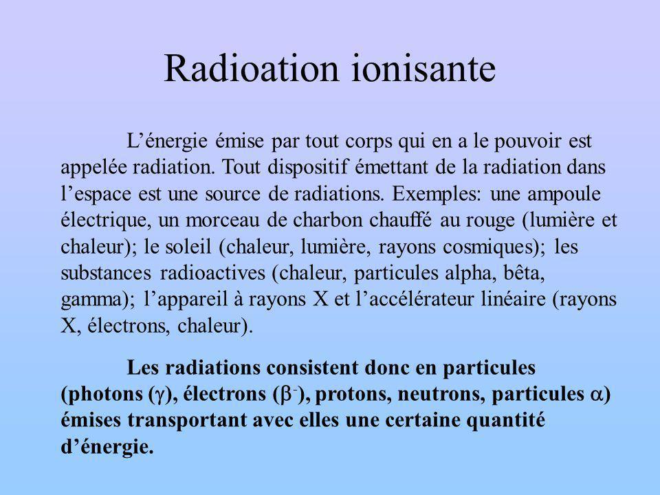 Radioation ionisante Lénergie émise par tout corps qui en a le pouvoir est appelée radiation.