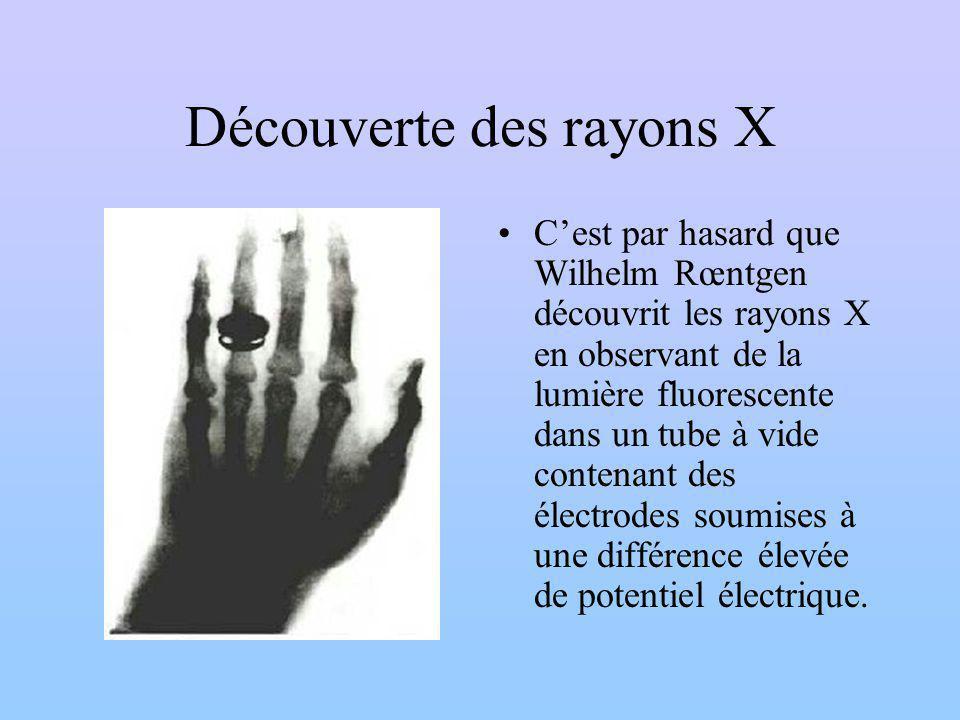 Découverte des rayons X Cest par hasard que Wilhelm Rœntgen découvrit les rayons X en observant de la lumière fluorescente dans un tube à vide contenant des électrodes soumises à une différence élevée de potentiel électrique.