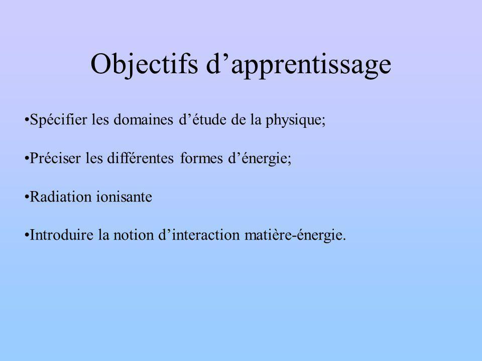 Objectifs dapprentissage Spécifier les domaines détude de la physique; Préciser les différentes formes dénergie; Radiation ionisante Introduire la notion dinteraction matière-énergie.