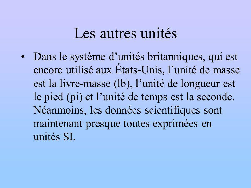 Les autres unités Dans le système dunités britanniques, qui est encore utilisé aux États-Unis, lunité de masse est la livre-masse (lb), lunité de longueur est le pied (pi) et lunité de temps est la seconde.