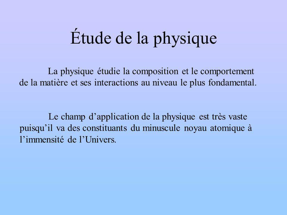 Étude de la physique La physique étudie la composition et le comportement de la matière et ses interactions au niveau le plus fondamental.