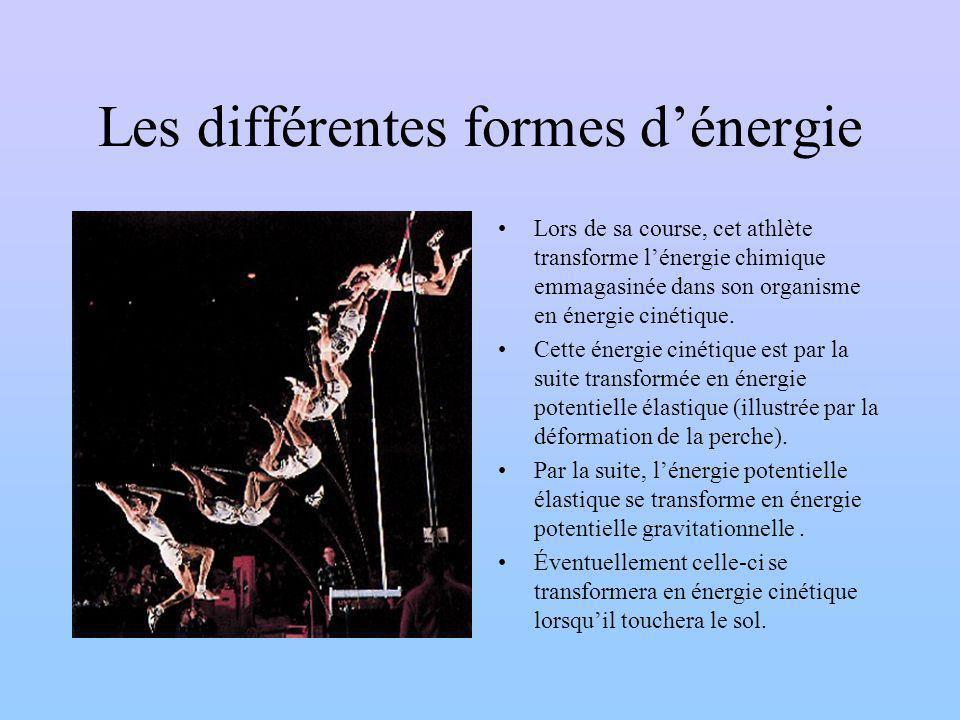 Les différentes formes dénergie Lors de sa course, cet athlète transforme lénergie chimique emmagasinée dans son organisme en énergie cinétique.
