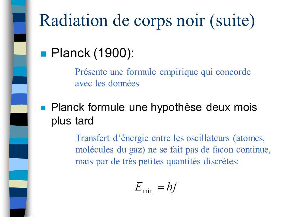 Radiation de corps noir (suite) n Planck (1900): n Planck formule une hypothèse deux mois plus tard Présente une formule empirique qui concorde avec l