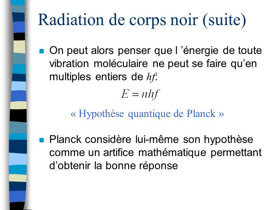 Radiation de corps noir (suite) On peut alors penser que l énergie de toute vibration moléculaire ne peut se faire quen multiples entiers de hf : n Pl