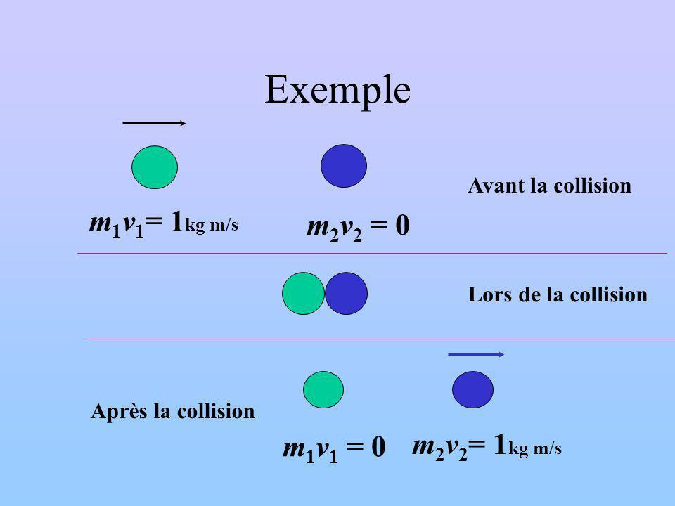Exemple m 1 v 1 = 1 kg m/s m 2 v 2 = 0 m 1 v 1 = 0 m 2 v 2 = 1 kg m/s Avant la collision Lors de la collision Après la collision