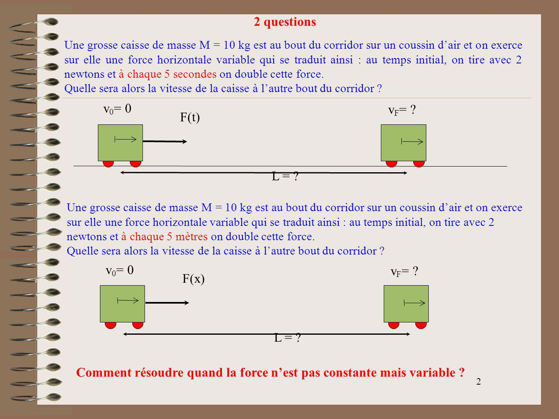 2 2 questions Une grosse caisse de masse M = 10 kg est au bout du corridor sur un coussin dair et on exerce sur elle une force horizontale variable qu