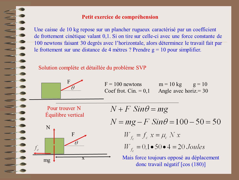F F = 100 newtons m = 10 kg g = 10 Coef frot. Cin. = 0,1 Angle avec horiz.= 30 Pour trouver N Équilibre vertical Petit exercice de compréhension Une c