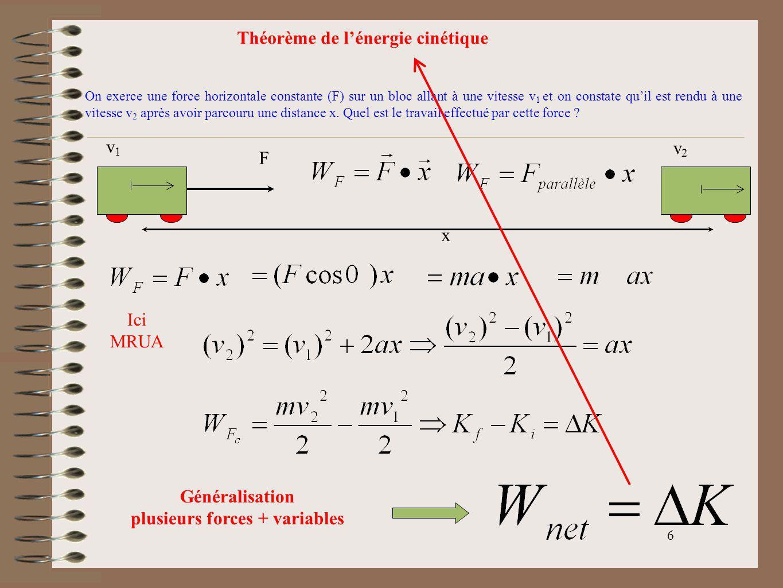 6 Théorème de lénergie cinétique On exerce une force horizontale constante (F) sur un bloc allant à une vitesse v 1 et on constate quil est rendu à un