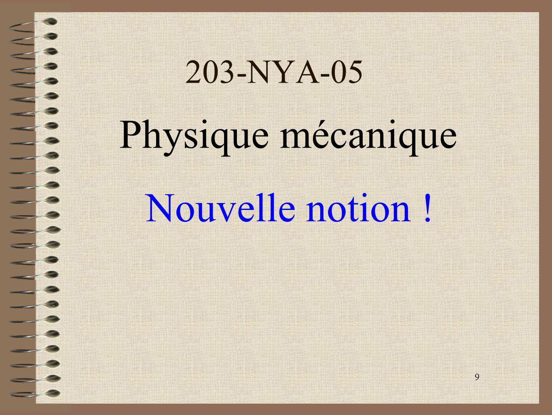 9 203-NYA-05 Physique mécanique Nouvelle notion !