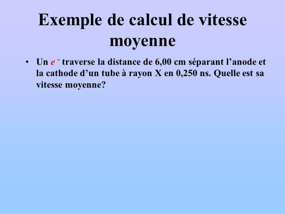 Exemple de calcul de vitesse moyenne Un e - traverse la distance de 6,00 cm séparant lanode et la cathode dun tube à rayon X en 0,250 ns. Quelle est s
